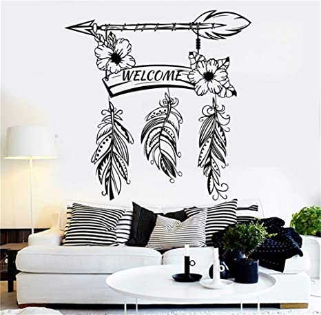 Cexpial Wall Decal Quote Words Lettering Decor Sticker Wall Vinyl Welcome Arrow Flower Wooden Board And Feathers For Door Entrance Home Kitchen