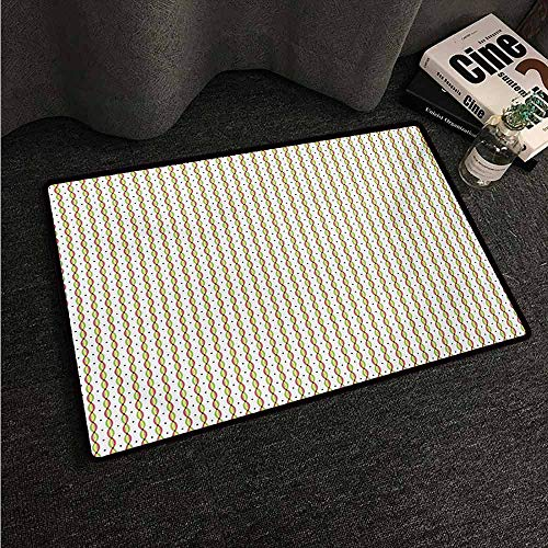 Floor Mats Modern Kitchen Rug Abstract,Geometric Convex Wavy Vertical Stripes with Little Diamond Figures Colorful Image,Multicolor,W20 xL30 Area Rugs (Best Area To Find Diamond In Minecraft)