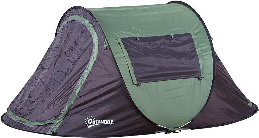 Outsunny Tienda de Campaña Pop-up para 2 Personas Tienda de Dormir con Bolsa de Almacenaje Portátil Ligera y con Mosquitero 250x150x100cm Verde