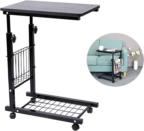 SIDUCAL End Table Height Adjustable Snack Side Table Under The Sofa Overbed Table, Black