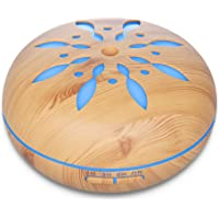 Seamei 550ML Remote Control Essential Oil Diffuser Wood Grain Aromatherapy Diffuser Ultrasonic Cool Mist Humidifier with Color LED Lights Changing Waterless Auto Shut-Off Bedroom Office Home Baby
