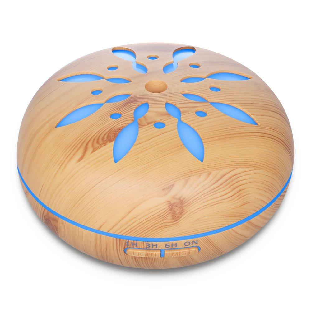 550ml Humidificador Ultrasónico Aromaterapia, Seamei Difusor de Aceites Esenciales de Vapor Frío, 7-Color LED y 4 Ajustes de Tiempo, Perfecto para Hogar, Oficina, Bebé, Dormitorio y Baño, Pétalos