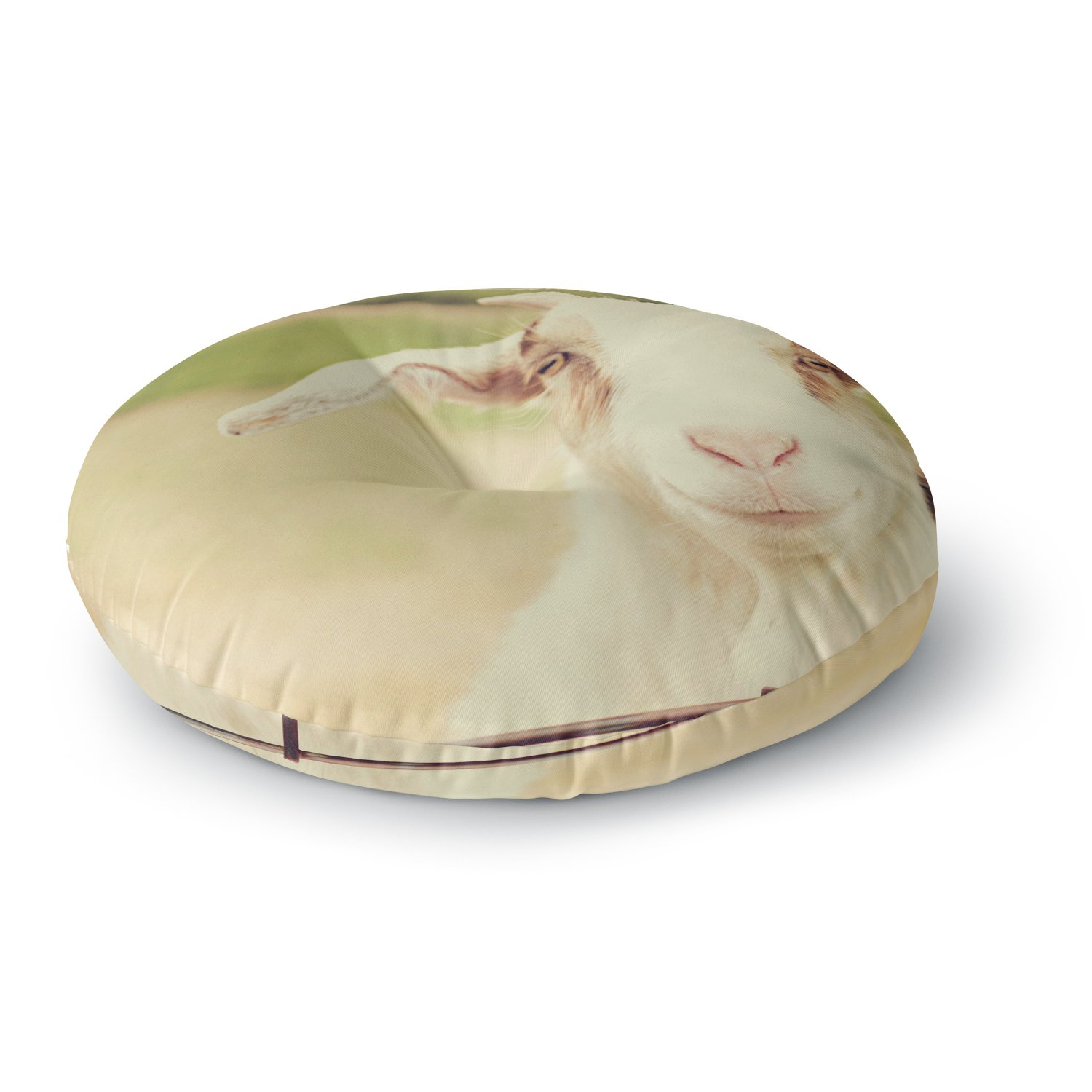 KESS InHouse Angie Turner Happy Goat Smiling Animal Round Floor Pillow, 26''