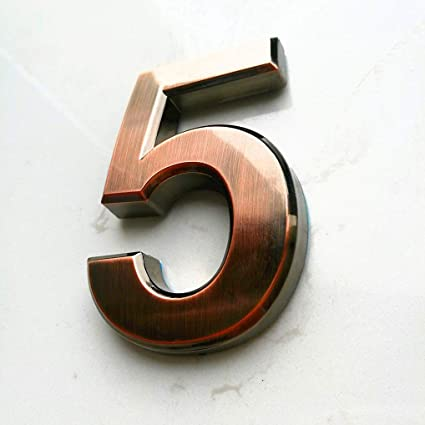 Self Adhesive Door Numbers 5, House Address Number Stickers 0-9 for  Mailbox/Apartment/Office Room, by Hopewan. (2.75\