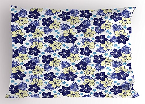 Ambesonne Hawaii Pillow Sham, Tropical Climate Foliage Hibiscus Abstract Nature Exotic Plumeria, Decorative Standard Queen Size Printed Pillowcase, 30 X 20 Inches, Indigo Pale Yellow Pale Blue by Ambesonne