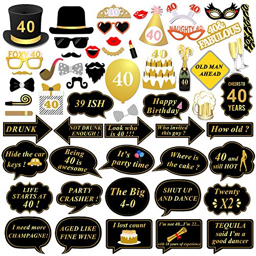 40th Birthday Party Photo Booth Props 58Pcs For Her Him Funny 40 DIY