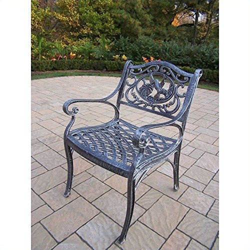 Oakland Living Hummingbird Cast Aluminum Arm Chair, Antique Pewter (Aluminum Arm Chairs)