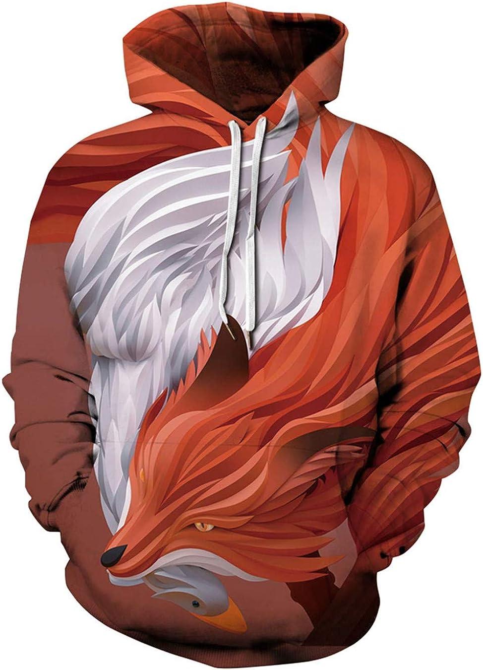 Sudadera con Capucha Unisex con Estampado de Lobo Rojo y Blanco con cordón
