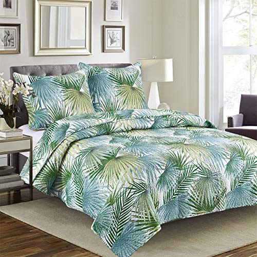Glory Home Design Cynthia - 3 Piece Reversible Premium Quilted Bedspread Set and Shams. (Palm Leaves, King)