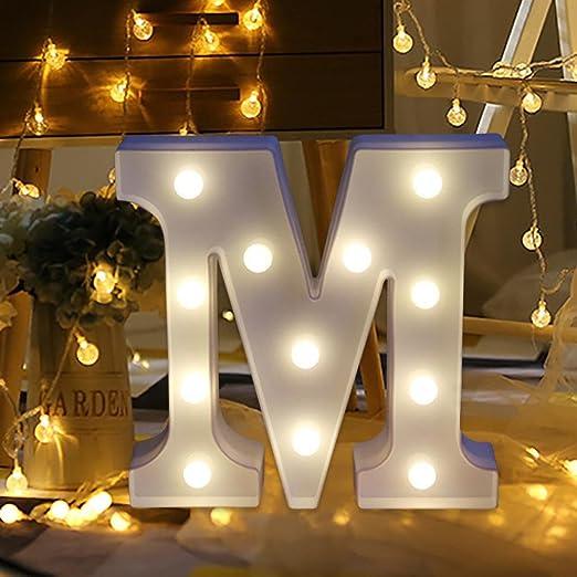 erthome 26 English Alphabet Lights LED Light Up White Plastic Letters Standing Hanging AZ Home Decor Wall Light (M)