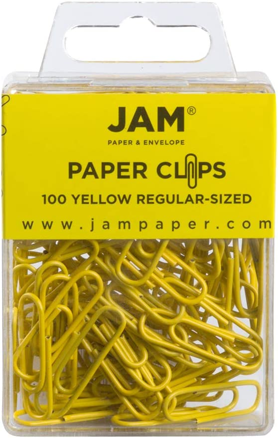 JAM PAPER Colorful Standard Paper Clips - Regular 1 Inch - Yellow Paperclips - 100/Pack