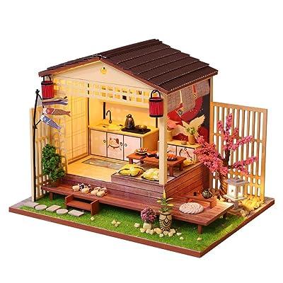 GAOJIEJM Casa de muñecas de Madera 3D de Regalo de Bloques de construcción, casa de muñecas ensamblada a Mano, construcción, casa pequeña de Cereza en Miniatura: Hogar