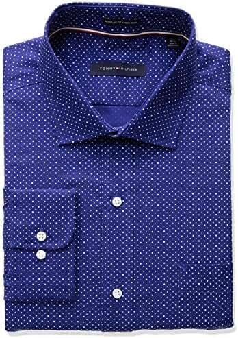 Tommy Hilfiger Men's Non Iron Regular Fit Dot Print Spread Collar Dress Shirt