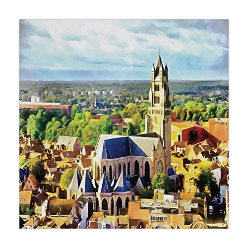 (iPrint Satin Square Tablecloth,Medieval Decor,Aerial Photo of Old Medieval Church and Gothic Town Middle Age Renaissance Europe Building,Multi,Dining Room Kitchen Table Cloth Cover)