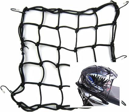 15x15 Helmet Cargo Net Mesh Luggage Net with 6 Adjustable Hook for Motorcycle Bike Truck Motorcycle Cargo Net