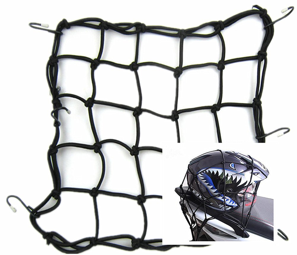 Moyishi 15 x 15 '(40x40cm) Cargo Net for Motorcycle Elasticated Bungee Cord Cargo Net 6 Hook Luggage Mesh Bungee Net (Black)