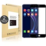 Huawei Honor 8 ,[2 Pack] Linboll Tempered Glass Full Coverage HD Ultra Clear Film Edge to Edge Protection Shield Screen Protector for Huawei Honor 8 [0.25 mm ][Anti-scratch] [no bubbles] black