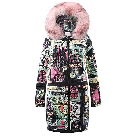 Amazon.com: AOJIAN Women Jacket Long Sleeve Outwear Faux Fur Hooded Graffiti Print Puffer Maxi Overcoat Coat: Clothing