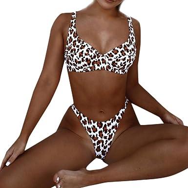cb9c546f8e399 Women Sexy Leopard Print Push-Up Padded Bra Summer Beach Skinny Bodysuits  Bikini Set Causal
