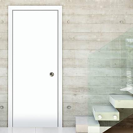 Moderna puerta corredera de bolsillo | Planum 0010 de seda blanca | marco de bolsillo con ribetes tiradores Track Hardware Set | madera maciza interior Slide puerta de armario |: Amazon.es: Bricolaje y herramientas
