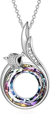 AOBOCO Fox Necklace Sterling Silver Fox Tail Pendant Embellished with Crystals from Austria, Fox Gifts for Fox Lovers, Fine Fox Jewelry Gifts for Women