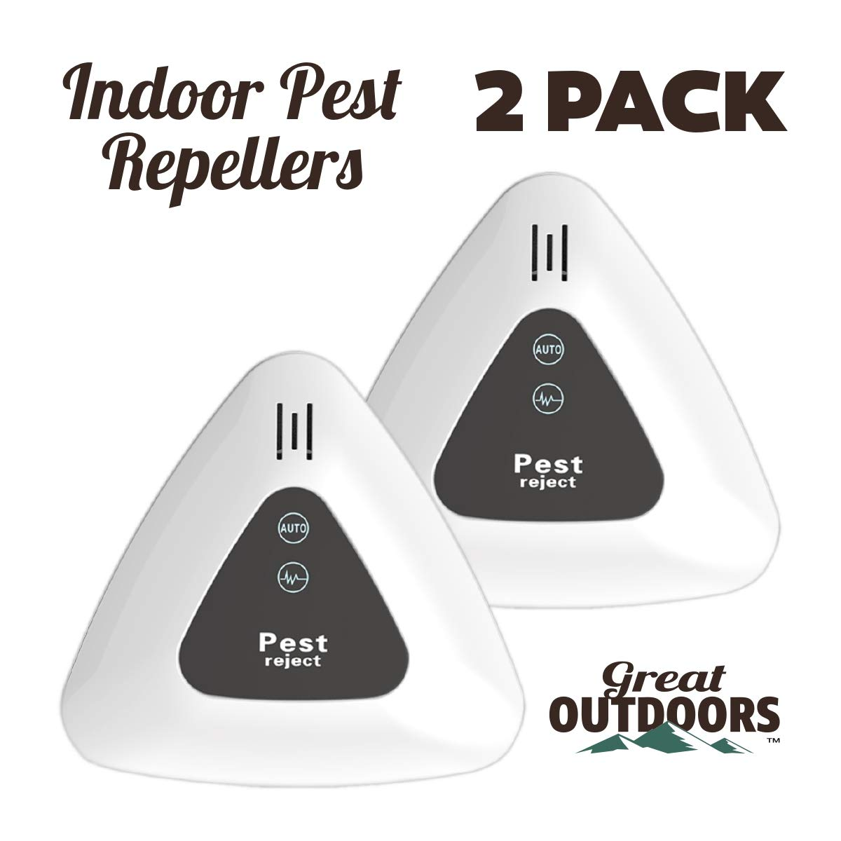 Ultrasonic Pest Repeller - Specialized Indoor Pest Defender - Electronic Control, Wall Plug-in - Used for Rodents and Insects (Ant, Cockroach, Mosquito, Bug) - Safe & Quiet ECO-Friendly Device by Great Outdoors
