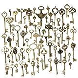 Refaxi 69pcs Vintage Skeleton Keys Charm Set DIY Necklace Pendants Accessories
