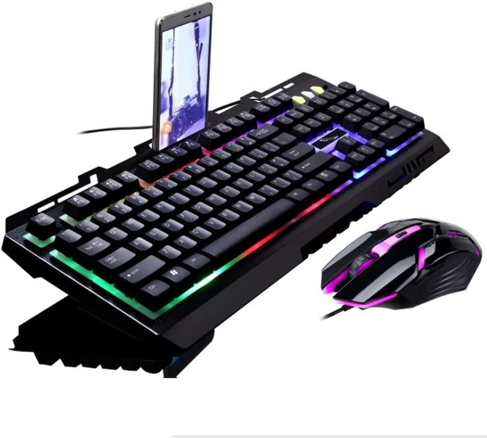 Pomeby Chasing Leopard G21 Illuminated Round Keyboard Mechanical Handle Backlit Game USB Keyboard USB Mouse Keyboard Set Gaming Keyboard Mute Mechanical Gaming Keyboard 104 Keys Digital Keypad Tactile
