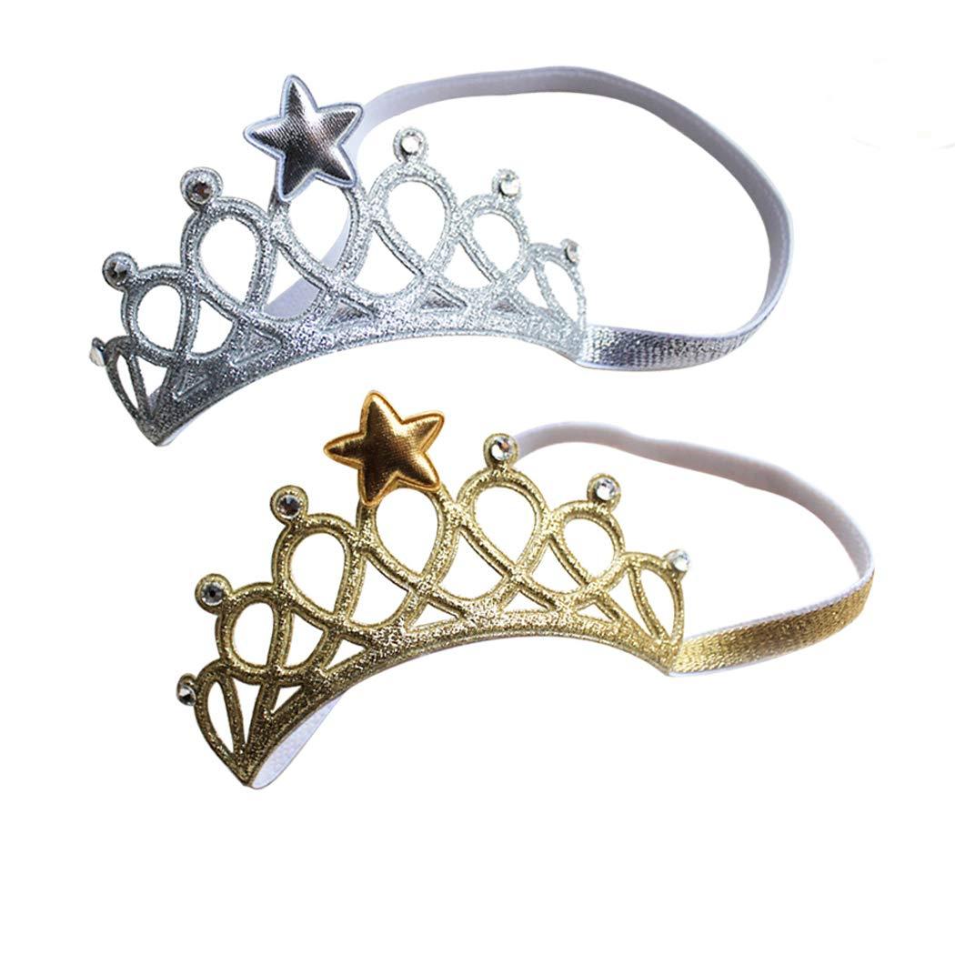 bandeaux de couronnes princesses pour les petites filles-lot de 2 bandeaux de couronne SwirlColor