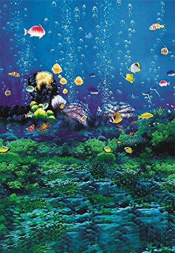 Underwater World Background 5X7FT Laeacco Vinyl Thin Backdrop Photography Background Undersea Coral Fish Bubbles Scene Mysterious Fancy Backdrop Kids Portraits Photo Studio Props (Undersea Backdrop)