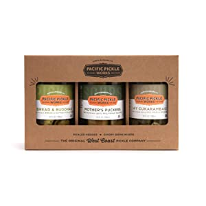 Pacific Pickle Works - Three Pickle Variety Pack - Mother's Puckers, Bread & Buddhas, and ¡Ay Cukarambas! Sour, sweet and deli style dill pickles