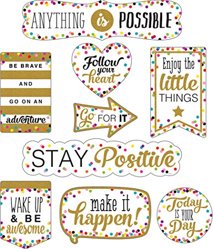 Confetti Positive Sayings Clingy Thingies Accents Bulletin Board Decorations