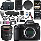 Canon EOS 5DS-R 5DSR DSLR Camera + EF 24-70mm f/4L IS USM Lens + LPE-6 Lithium Ion Battery + Sony 128GB SDXC Card + Canon W-E1 Wi-Fi Adapter + 77mm 3 Piece Filter Kit Bundle