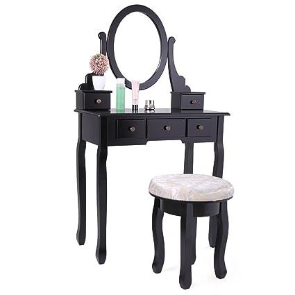 Amazon Com Lazymoon Vanity Table Set Makeup Desk With Stool And