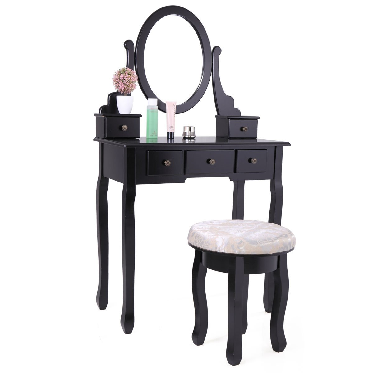 LAZYMOON Vanity Table Set Makeup Desk with Stool and Oval Mirror , Black