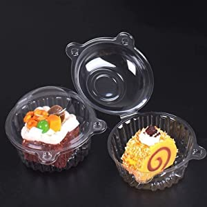 BITHAI 50 Pcs Cupcake Containers, Clear Plastic Cupcake Holder with Lids - Individual Muffin Cake Container Disposable Stackable for Food Storage,Bake,Wedding,Party,Birthday (Standard Size)