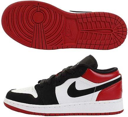 black and red low top jordans