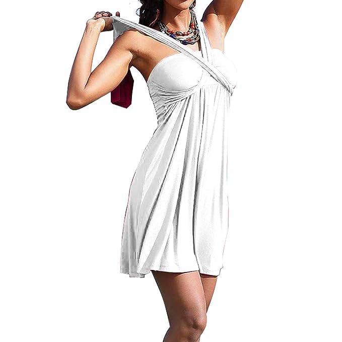 a175b0f323c8 Sidiou Group Moda Vestito da Festa per Le Donne Sexy Cassa spostata  Pannello Esterno del Vestito del Costume da Spiaggia dello Swimwear Gonne:  Amazon.it: ...