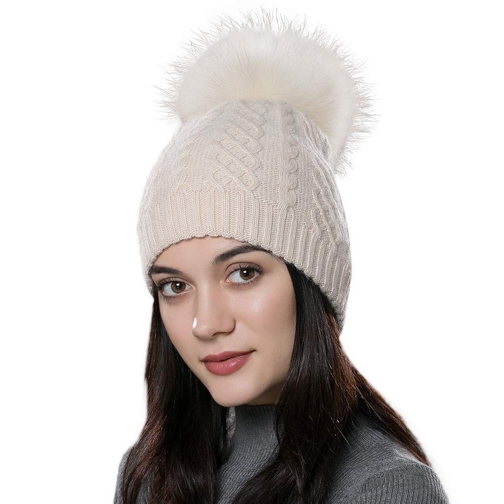 Somaler Soft Pom Beanie Womens is Super Angola Wool blended. Nice snug fit  and plenty of stretch. The ridged design with a 100% raccoon pom fit any  shape ... f241982dbe4b