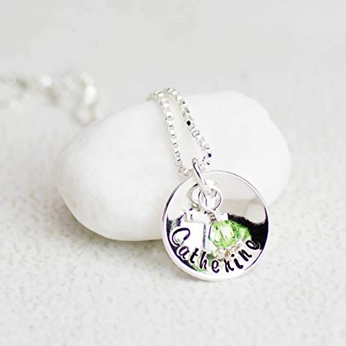 personalized swarovski products silver sterling collections custom necklace charmed first communion il expressions for fullxfull initial her gift birthstone