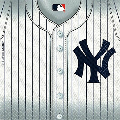 Sports & Tailgating MLB Party New York Yankees Luncheon Napkins, 36 Pieces, Made from Paper, White by Amscan (Lunch Yankees)