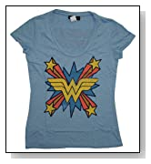 Wonder Woman DC Comics Junk Food Vintage Style Scoop Neck Soft Juniors T-Shirt