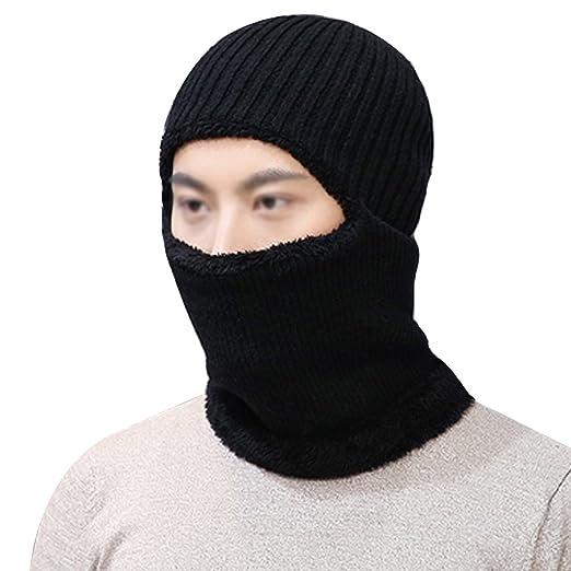 Editha Women Men Winter Warm Woolen Yarn Knit Beanie Hat Scarf Winter  Windproof Warm Hoodie Hat 3cd30c948b39