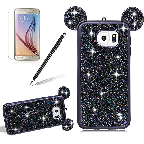 Girlyard For Samsung Galaxy S6 Edge Bling Diamond Silicone Case Cover Shiny Crystal Rhinestone Mouse Ears Soft TPU Protective Case 3D Novelty Design Ultra Slim Plating Frame Back Cover Black