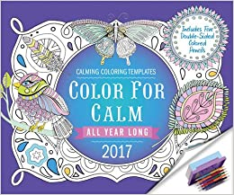 color for calm all year long 2017 box calendar with colored pencils attached to base