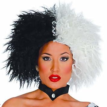NET TOYS Peluca Afro Mujer Pelo Punk Negro-Blanco Cabello ochentero Caracterización Cruella Cabellera Carnaval