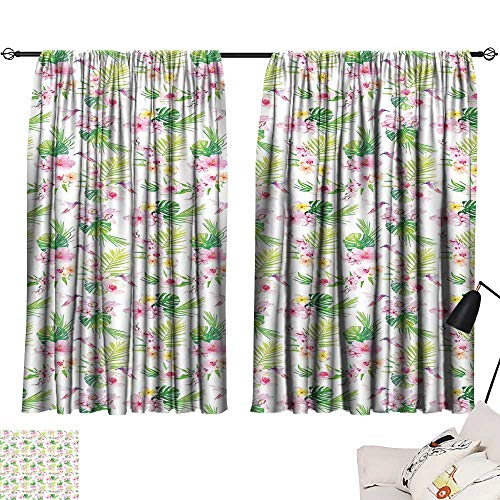 Ediyuneth Window Curtain Fabric Luau,Hawaiian Flower Branches with Exotic Giant Leaves and Birds Botany Print,Baby Pink Lime Green 84