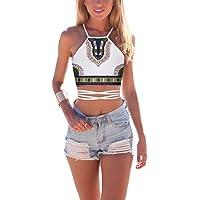 JomeDesign Women's Summer Halter Cross Hollow Boho Bandage Tank Camis Crop Top Vest