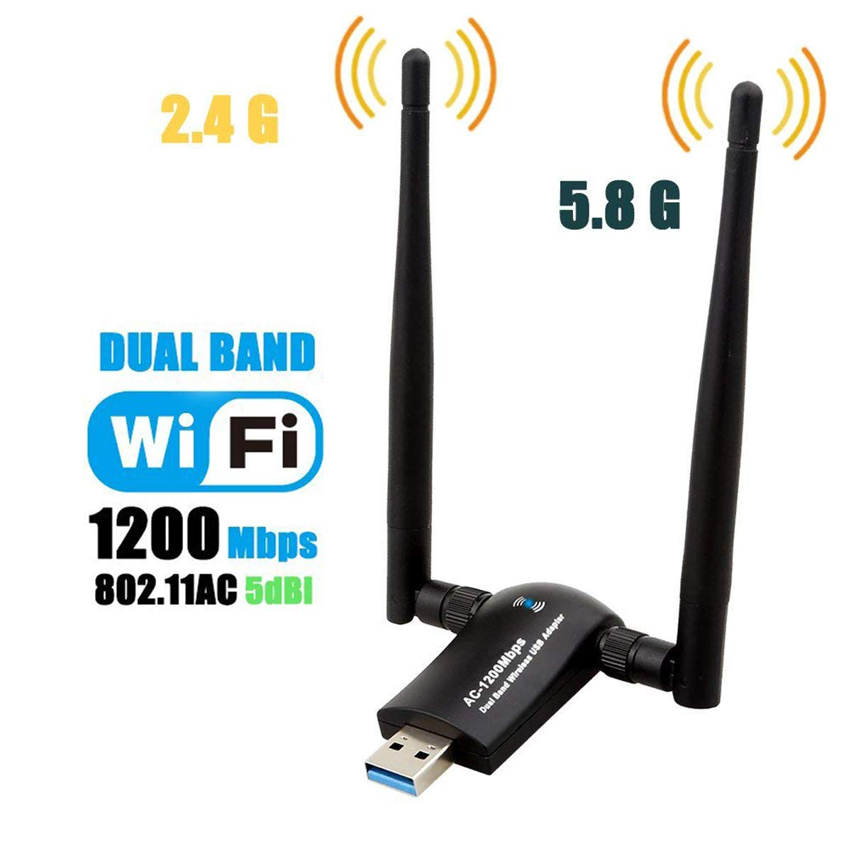 1200Mbps Wireless USB WiFi Adapter, Maxsoco WiFi Adapter,AC1200 Dual Band 802.11 ac/a/b/g/n,2.4GHz/300Mbps 5GHz/867Mbps High Gain Dual 2 X 5dBi Antennas Network WiFi USB 3.0 for Desktop (Black) by Maxsoco (Image #1)