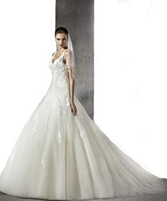 Scalloped A-Line Plus Size Wedding Dress Size US2